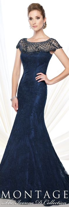 Montage The Ivonne D Collection Fall 2015 - Style No. 215D10 #navyeveninggowns