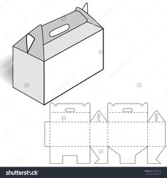 Cardboard Box, Cutting, Box With Handle Ilustración vectorial en stock 400084723 : Shutterstock