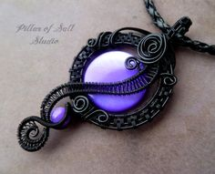 Black and purple Wire Wrapped Pendant necklace / Goth jewelry / wire wrapped…