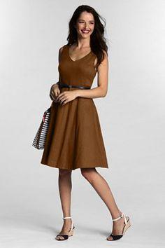 Unifarbenes Sommerkleid mit V-Ausschnitt für Damen