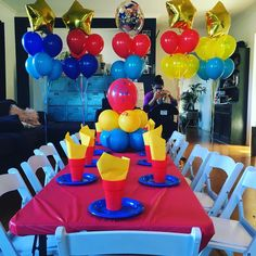 "35 Likes, 4 Comments - This Little Party (@thislittleparty) on Instagram: ""Holy big balloons Batman! It's a superhero party! ❤️ Kid sized tables and chairs for little ones to…"""
