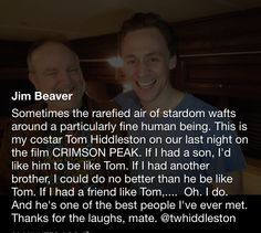 I would want the same too. I'd even take it a bit farther and say that if I had partner in life I would honestly hope he's just like Tom.