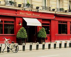 Red French Boutique Hotel With Bicycle Paris by pamelajanegallery, $75.00