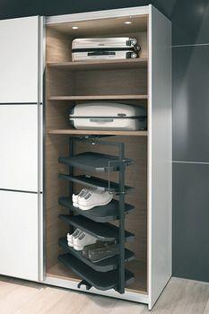 Wardrobe Shoe Rack, Wardrobe Storage, Bedroom Storage, Cabinet Door Hardware, Cabinet Doors, Shoe Rack Pull Out, Shoe Cabinet Design, Shoe Shelves, Concealed Hinges