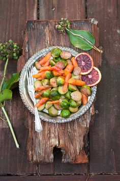 Blood Orange Glazed Brussels Sprouts and Carrots | Delish Dish bhg.com