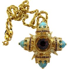 Vintage Benedikt NY Maltese Cross Pin / Pendant in Faux Turquoise offered by 2Hearts Uptown Jewelry and Accessories on Ruby Lane.
