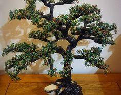 Alambre y bolas del árbol escultura, árbol de la vida, árbol de los bonsais. 50x45cm