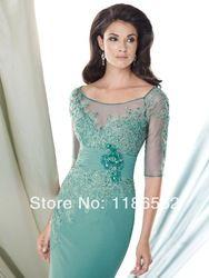 Online Shop Elegant Scoop Neck Sheer Appliques Beaded Chiffon Floor Length 2014 Half Sleeves Purple Mother of the Bride Dress|Aliexpress Mobile