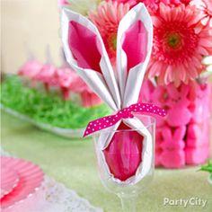 Easter Favor Bunny Napkin idea from Party City