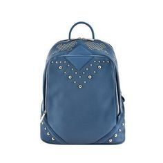 Blue Studded Zipper Backpack