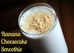 Banana Cheesecake Smoothie:   I used 3/4 c 0% Horizon Organic milk + 1/4 cup almonds,  added 1 tsp. vanilla, 0% Fage yogurt, Lauging cow (non flavored) cream cheese wedges and added 1 packet Stevia: very yummy and VERY filling :-)