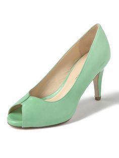 FABIO RUSCONI - enamel leather open toe pumps