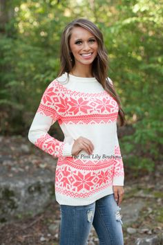 The Pink Lily Boutique - Angel In The Snow Sweater , $36.00 (http://thepinklilyboutique.com/angel-in-the-snow-sweater/)