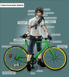 Fixed gear bike poseur  (or being the person that created this), haha sadly a good bit of this describes me lol