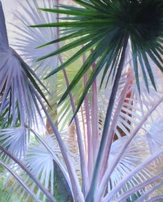 "Painting in oils on Canvas, Palms in the Majorelle Gardens, Marrakech.  30"" x 24"" by Podi Lawrence"