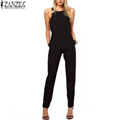 c2929a9b9118  24.96 - Awesome Zanzea Brand 2017 Summer Elegant Womens Rompers Jumpsuit  Casual Solid Bodysuit Sleeveless Crew · Playsuit RomperBlack ...