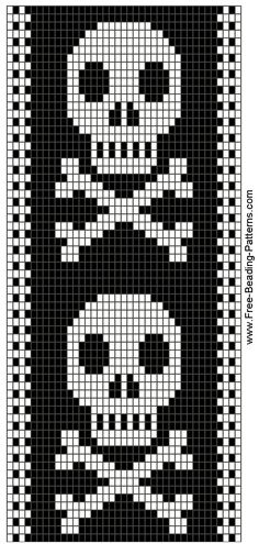 Skull bead pattern, so Hailey. Beading Patterns Free, Bead Loom Patterns, Peyote Patterns, Bracelet Patterns, Cross Stitch Bookmarks, Cross Stitch Charts, Cross Stitch Patterns, Loom Bands, Knitting Charts
