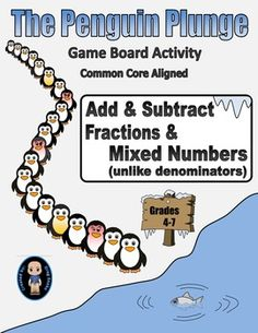 Get in line and take the Penguin Plunge!Do you need a fun way for your students to practice the skill of adding and subtracting fractions with unlike denominators? How about a math activity perfect for the winter months? Try the simple game on this file. Adding Fractions, Adding And Subtracting Fractions, Math Fractions, Fraction Activities, Math Activities, Junior High Math, 5th Grade Math, Math Workshop