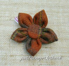 Handmade Rust Harris Tweed Fabric Flower Brooch ideal to add to Coat, Hat and…