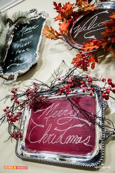 Vintage silver tray chalkboards, decked out for the seasons! Silver Platters, Silver Trays, Silver Tray Decor, Christmas Holidays, Christmas Decorations, Christmas Ideas, Christmas Store, Homemade Christmas, Painted Trays