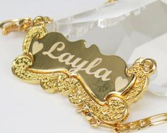 Carries Style,Personalized Jewelry Name Necklace 18K Gold Plated Free Engraved any name,Personalized Name Necklace,Name Chain Necklace