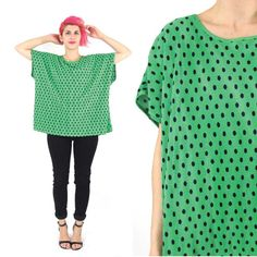 Vintage Green Polka Dot Blouse Pleated Slouchy by honeymoonmuse