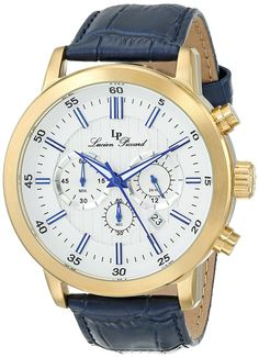 Lucien Piccard Men's 12011-YG-023S Monte Viso Chronograph White Textured Dial Dark Blue Leather Watch -- See this great watch.