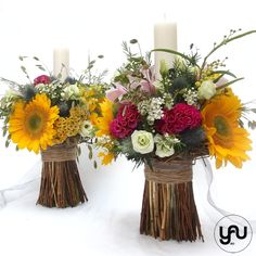 lumanari-cununie-floarea-soarelui-_-yauconcept-_-elenatoader-2 Rustic Theme, Event Decor, Flower Arrangements, Glass Vase, Wedding Flowers, Concept, Candles, Table Decorations, Flower Ideas