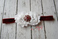 Red & White Glitter Headband with Red Rhinestone by TheRogueBaby, $7.95