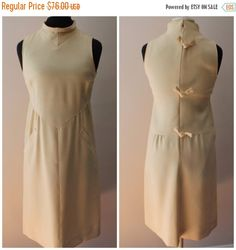 New Year, New You Sale 1970s Courreges Cream Wool Dress - Vintage Shift with Bows - Mock Neck - Andre Courreges 60s 70s - Size Small