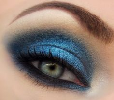 Blue. This makeup style is going to look amazing with my new honey colored contacts! Hope I can pull it off without looking like a raccoon!