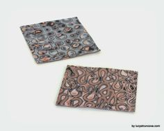 Polymer Clay Mokume Gane using texture sheets made with scrap clay by  LUCY Struncova #polymer clay #tutorial #mokume