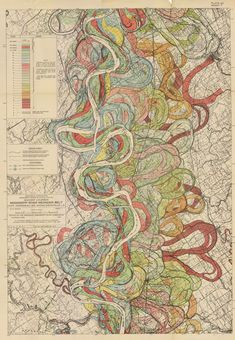 These are maps of the Mississippi River, of the changing path of the river over time. (Harold Fisk, cartographer). Can download the high def files.