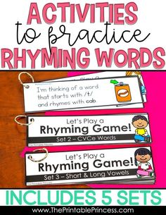 This bundle is your one stop for rhyming activities! It has everything you need to teach rhyming words to your PreK, Kindergarten, and First Grade students. It's loaded with rhyming activities, games, centers, and worksheets that will make teaching {and learning} rhymes fun and fresh! The resources offer engaging and hands-on ways to help your students learn to rhyme!