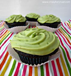 Shoutout to @Tonya Dreese for pinning these cupcakes with Avocado Frosting! What a perfect way to top off cupcakes.
