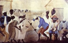"""""""The Old Plantation,"""" South Carolina, about 1790. This famous painting shows Gullah slaves dancing and playing musical instruments derived from Africa. Scholars unaware of the Sierra Leone slave trade connection have interpreted the two female figures as performing a """"scarf"""" dance. Sierra Leoneans can easily recognize that they are playing the shegureh, a women's instrument (rattle) characteristic of the Mende and neighboring tribes."""