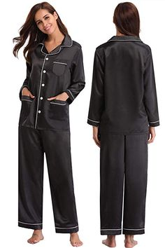 Abollria Women s Satin Pajama Set V Neck Pajama Set Long Sleeve Sleepwear ,Black,XL 03c177a41