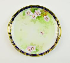 #Vintage #VogueTeam Antique Cake Plate Noritake Plate Early 1900s Cobalt Blue Gold Pink Green Double Handle Collectible