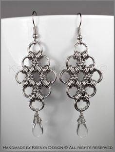 Dyana - unique chainmaille earrings. #jewelry #ksenyajewelry #earrings #chainmaille #wirejewelry #transparent