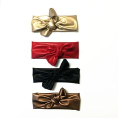 Winter Sparkle- Stretch Faux Leather Top Knot Headband for little girls