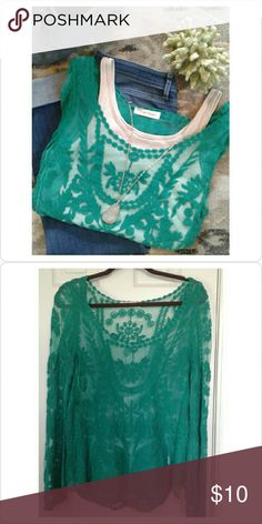 Sheer Lace Top Simply Couture brand. Hand wash and hang to dry. Cotton/polyester blend. Very beautiful detail. Color is a lovely green. Anthropologie Tops