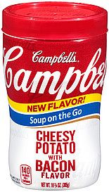 www.worldgrocerystoreandmore.ecrater.com/p/18598275/campbells-soup-on-the-go-cheesyCampbell's Soup On the Go CHEESY POTATO with BACON FLAVOR 10.75 oz  140 calories per container Enjoy delicious, sippable soups anywhere, anytime