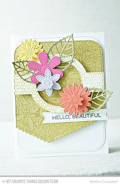 Card by Keisha Campbell (031517) [My Favorite Things (dies) Die-namics Bluepints 31 Layered Leaves, Stitched Flowers, Stitched Scallop Basic Edges 2, Stitched Sentiments Strips; (stamps) Bundles of Blossoms Background, Lined Up Dots Background, Essential Sentiments]