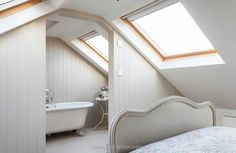 Loft conversion bedroom with en suite  | The best attic home design ideas! See more inspiring images on our boards at: http://www.pinterest.com/homedsgnideas/attic-home-design-ideas/