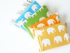 Cute Elephant Business card holder - velcro wallet! Perfect unique gift for someone special.