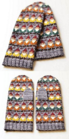 I love gnomes and I love sharing gnome photos and art with others! Knitting Charts, Knitting Stitches, Knitting Patterns Free, Baby Knitting, Crochet Patterns, Knitted Mittens Pattern, Knit Mittens, Knitted Hats, Fair Isle Knitting