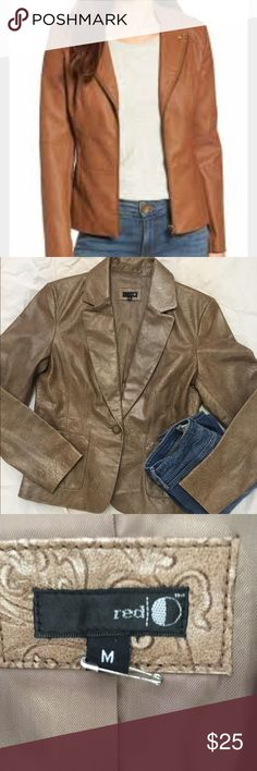 Adorable brown Faux leather jacket M Faux leather like new red Jackets & Coats Blazers