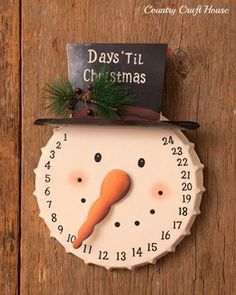 New Country Calendar Days Until Countdown To Christmas Snowman Head Face Hat