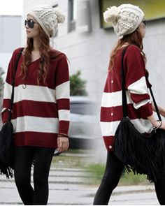 Oversized Button Down Back Sweater chunky hat, cute fringe bag and leggings. Trendy and cool best of all comfy for fall!