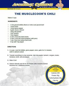 The muscle cooks chili